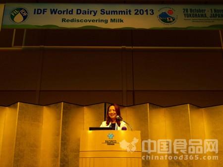 蒙牛总裁孙伊萍在IDF世界乳业峰会发表主题演讲